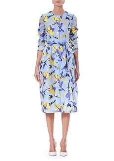 Carolina Herrera Iris Fil Coupé 3/4-Sleeve Button-Front Midi Shirtdress