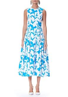 Carolina Herrera Iris Floral-Print Sleeveless Cotton Faille Dress with Side Pleats