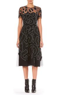 Carolina Herrera Jewel-Neck Short-Sleeve Leopard-Embroidered Cocktail Dress
