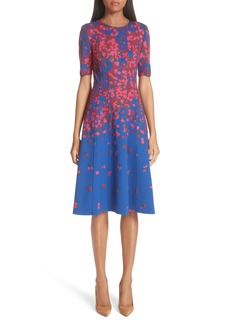 Carolina Herrera Floral Print Neoprene Dress