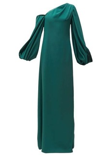 Carolina Herrera Knotted-back asymmetric silk crepe gown