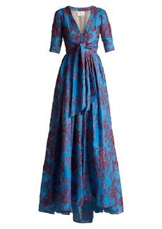 Carolina Herrera Knotted floral devoré gown