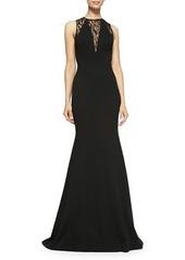 Carolina Herrera Lace & Jersey Trumpet Gown