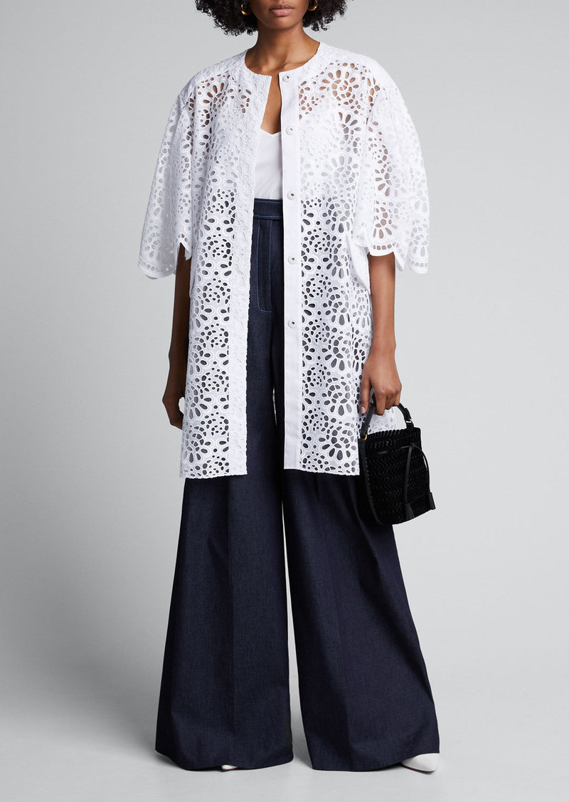 Carolina Herrera Lace Dramatic-Sleeve Oversized Coat