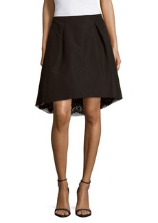 Carolina Herrera Lace-Lined Silk Skirt