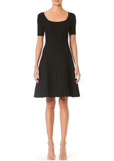 Carolina Herrera Lace Stitch Fit & Flare Sweater Dress