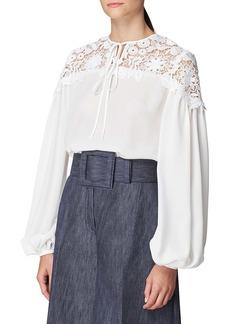 Carolina Herrera Lace Yoke Gathered Sleeve Silk Blouse