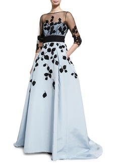 Carolina Herrera Leaf-Embroidered Silk Faille Illusion Gown