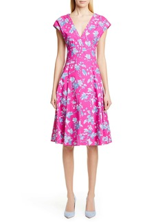 Carolina Herrera Leaf Print Stretch Cotton Dress