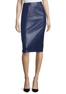 Carolina Herrera Leather Pencil Skirt