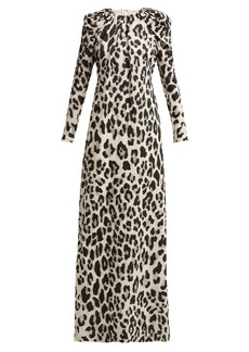 Carolina Herrera Leopard-print lurex chiffon gown