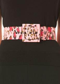 Carolina Herrera Leopard-Print Square Buckle Belt
