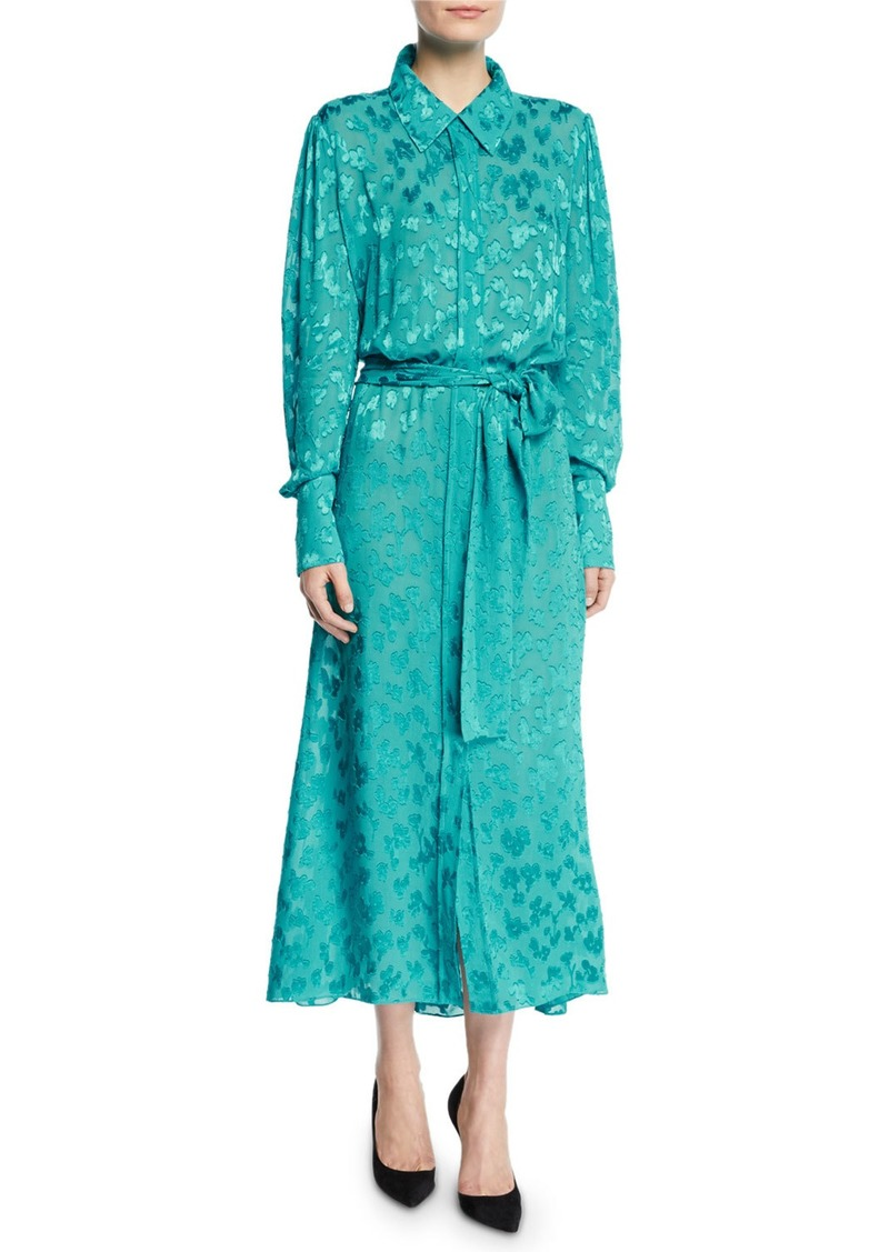 Carolina Herrera Long-Sleeve Leopard Devoré Button-Front Tea-Length Shirtdress
