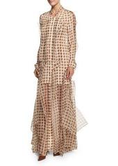 Carolina Herrera Long-Sleeve Ruffled Shirtgown