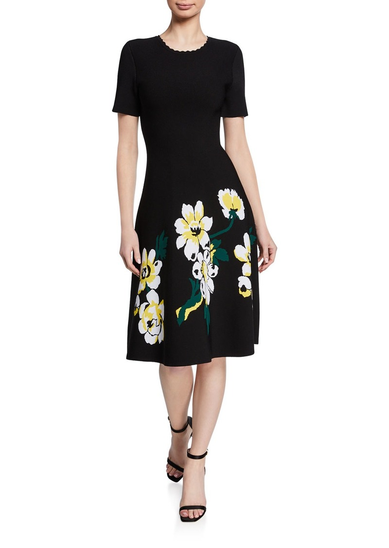 Carolina Herrera Magnolia Short-Sleeve Knit Dress