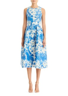 Carolina Herrera Metallic Jacquard Fit & Flare Dress