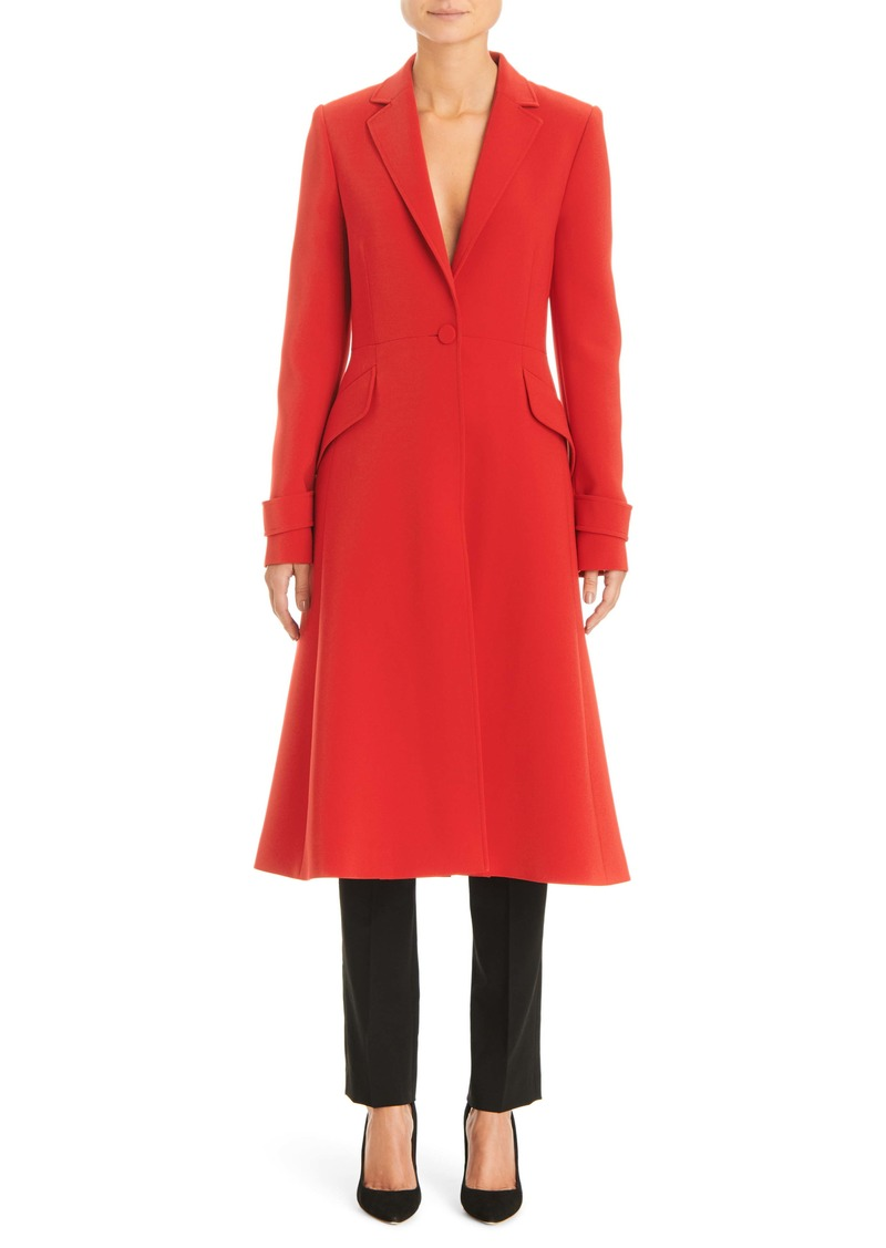 Carolina Herrera Notched Lapel A-Line Coat