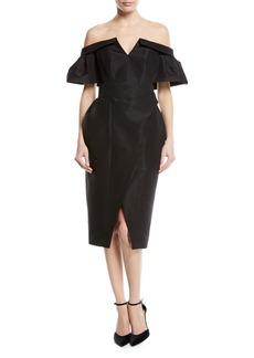 Carolina Herrera Off-Shoulder Faille Wrap Cocktail Dress