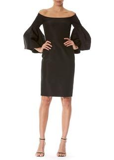 Carolina Herrera Off-the-Shoulder Bell-Sleeve Cocktail Dress