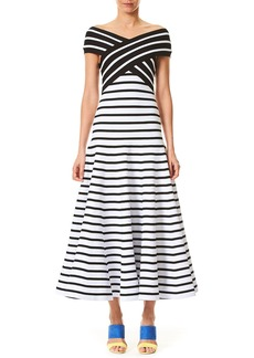 Carolina Herrera Off-the-Shoulder Fit-and-Flare Striped Tea-Length Knit Dress