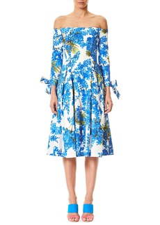 Carolina Herrera Off-the-Shoulder Floral-Print Tie-Sleeves Midi Day Dress