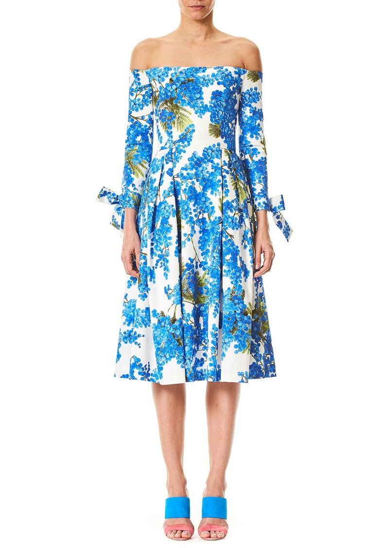 SALE! Carolina Herrera Off-the-Shoulder Floral-Print Tie-Sleeves ...