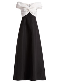 Carolina Herrera Off-the-shoulder gathered silk-faille gown