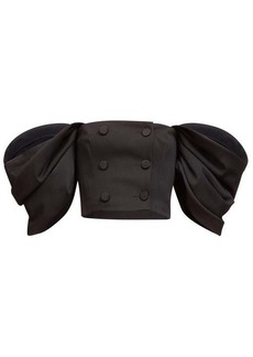 Carolina Herrera Off-the-shoulder puff-sleeve wool-blend top