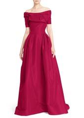 Carolina Herrera Off the Shoulder Silk Ballgown