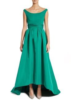 Carolina Herrera Off the Shoulder Silk Faille Gown
