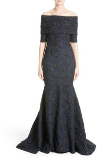 Carolina Herrera Off the Shoulder Textured Trumpet Gown