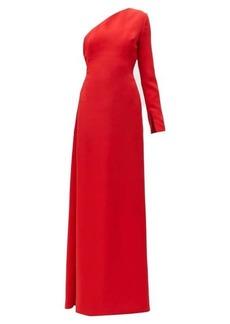 Carolina Herrera One-shoulder asymmetric silk-twill gown