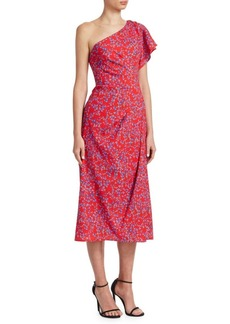 Carolina Herrera One-Shoulder Floral Dress