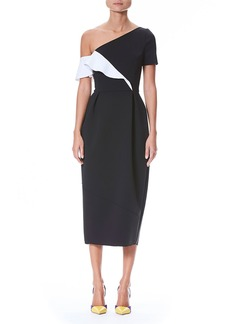 Carolina Herrera One-Shoulder Ruffle Neoprene Sheath Cocktail Dress