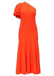 Carolina Herrera One-sleeve ribbed midi dress