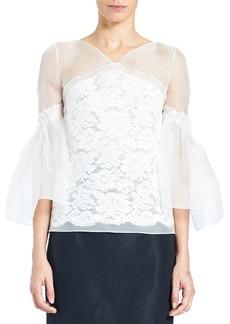 Carolina Herrera Organza Lace V-Neck Blouse with Full Sleeves