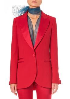 Carolina Herrera Peak-Lapels One-Button Wool Tuxedo Jacket