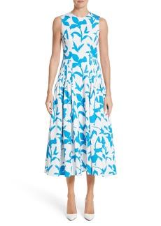 Carolina Herrera Pleated A-Line Midi Dress