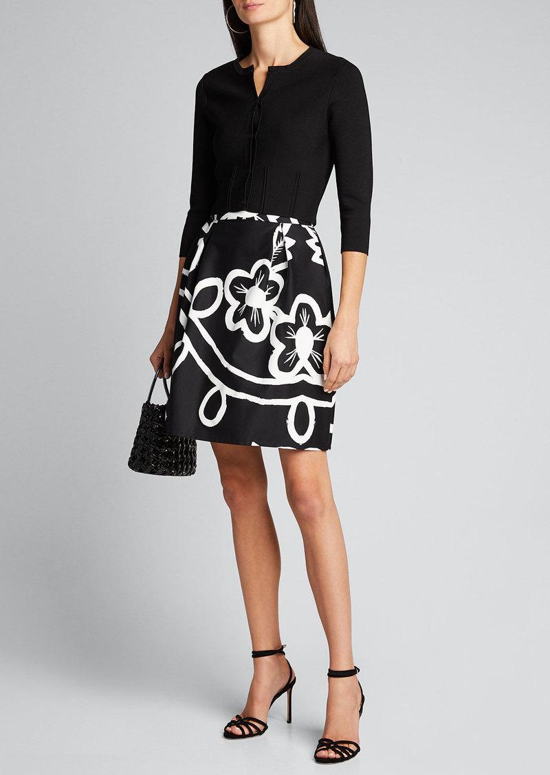 Carolina Herrera Pleated Floral-Print Skirt