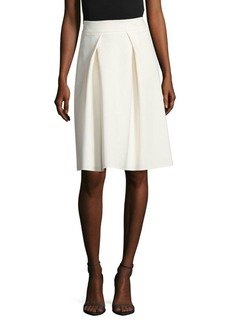 Carolina Herrera Pleated Virgin Wool Midi Skirt