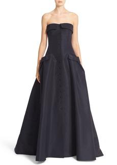 Carolina Herrera Pocket Detail Strapless Silk Faille Gown