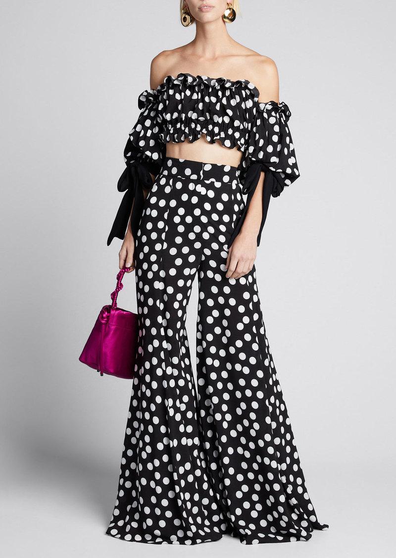 Carolina Herrera Polka-Dot Print Extra Wide-Leg Pants