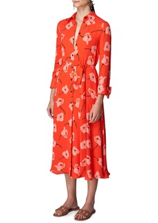 Carolina Herrera Poppy Print Tie Waist Shirtdress