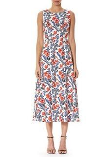 Carolina Herrera Poppy Sleeveless Silk Midi Dress