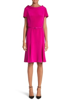 Carolina Herrera Portrait Collar Silk Satin Dress