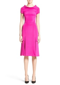 Carolina Herrera Portrait Collar Silk Satin Dress
