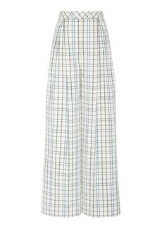 Carolina Herrera Printed Wide-Leg Cotton-Blend Pants