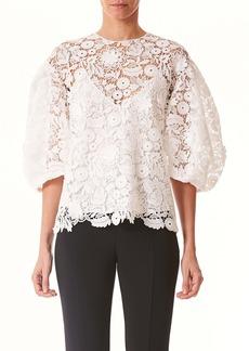 Carolina Herrera Puff Sleeve Guipure Lace Top