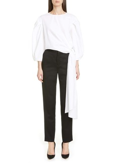 Carolina Herrera Puff Sleeve Knot Sash Top