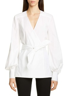 Carolina Herrera Puff Sleeve Poplin Wrap Blouse